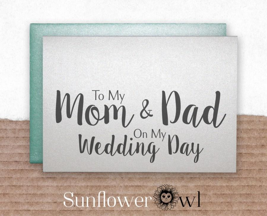 Mariage - To my mom & dad on my wedding day wedding thank you card father of the bride groom mother of the bride gift note to my parents