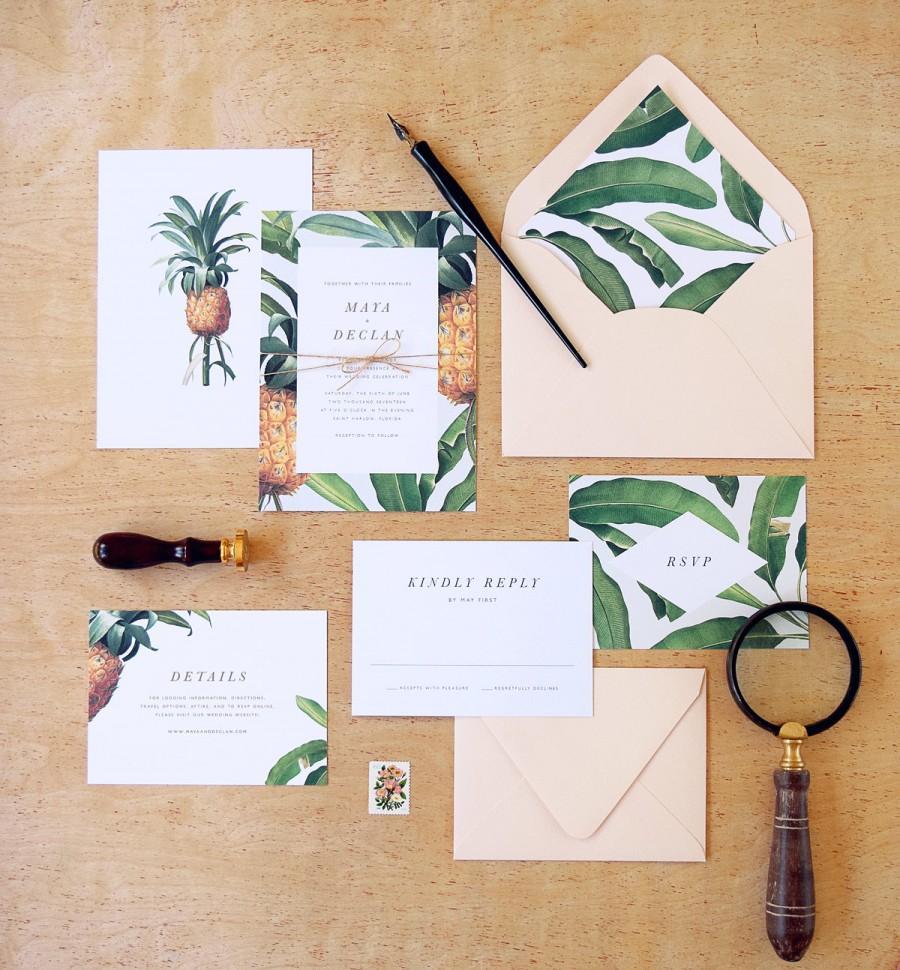 Hochzeit - Maya Wedding Invitation & Correspondence Set / tropical pineapple and banana leaf accents / Sample Set