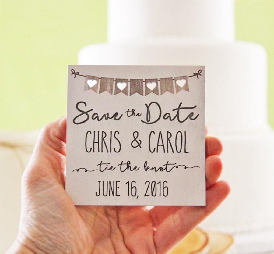 Wedding - Wood Save the Date Magnet, Wedding Announcement, Wood Save the Date, Rustic Wedding Announcement