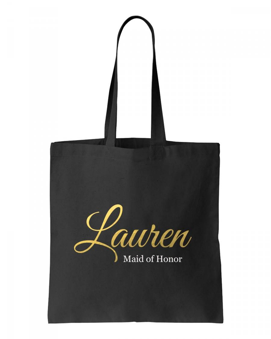 Mariage - Bridal Party tote, Gold foil Maid of Honor tote, Personalized bridesmaid tote, black wedding tote, black bridesmaid tote, Gold and black