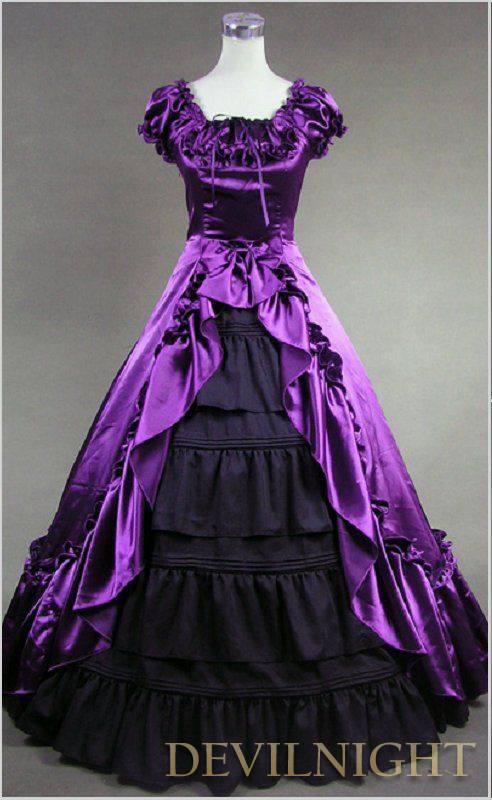 زفاف - Classic Purple and Black Short Sleeves Bow Gothic Victorian Dress