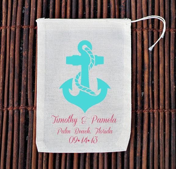 زفاف - Personalized Anchor Destination Welcome Bag- Muslin Cotton Mini Favor Bags