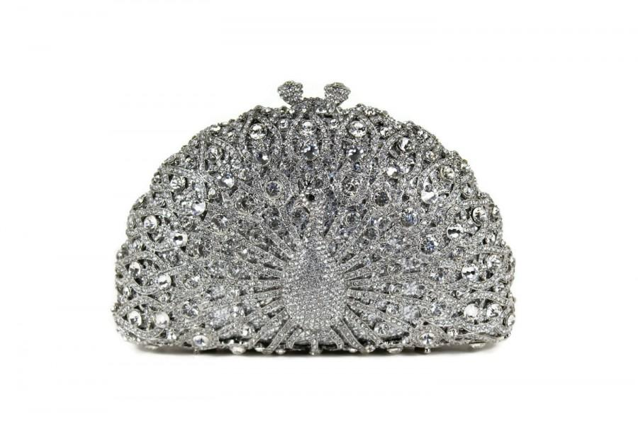 Mariage - Crystal Peacock Clutch, Bridal Clutch, Silver Minaudiere, Wedding Purse, Evening Bag, Luxury Clutch, Rhinestone Clutch