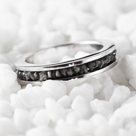 Wedding - Diamond Wedding Band 14k White Gold Bridal Sets Grey Uncut Rough Diamonds