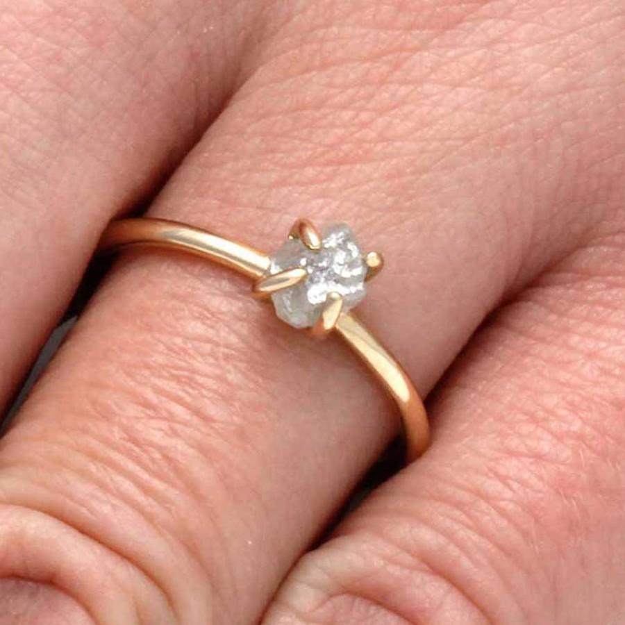 Wedding - 1 CT. Rough Cut Diamond Engagement Ring Fashioned in 10k Yellow Gold, Solitaire Engagement Ring with Rough Diamond in Prong Setting