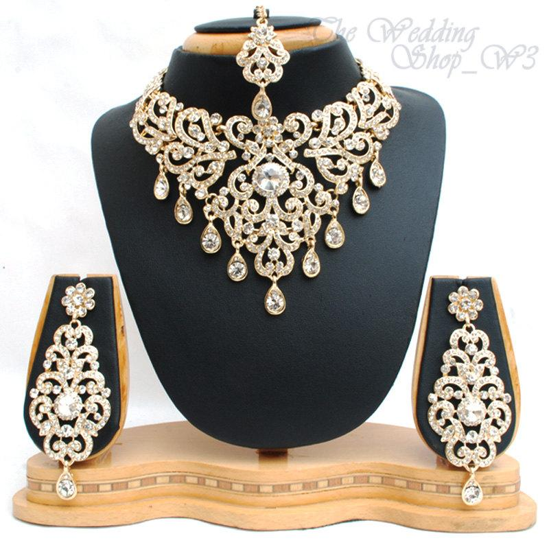 Elegant Bridal Set Heavy Gold Plated Diamante Crystal Vintage Indian