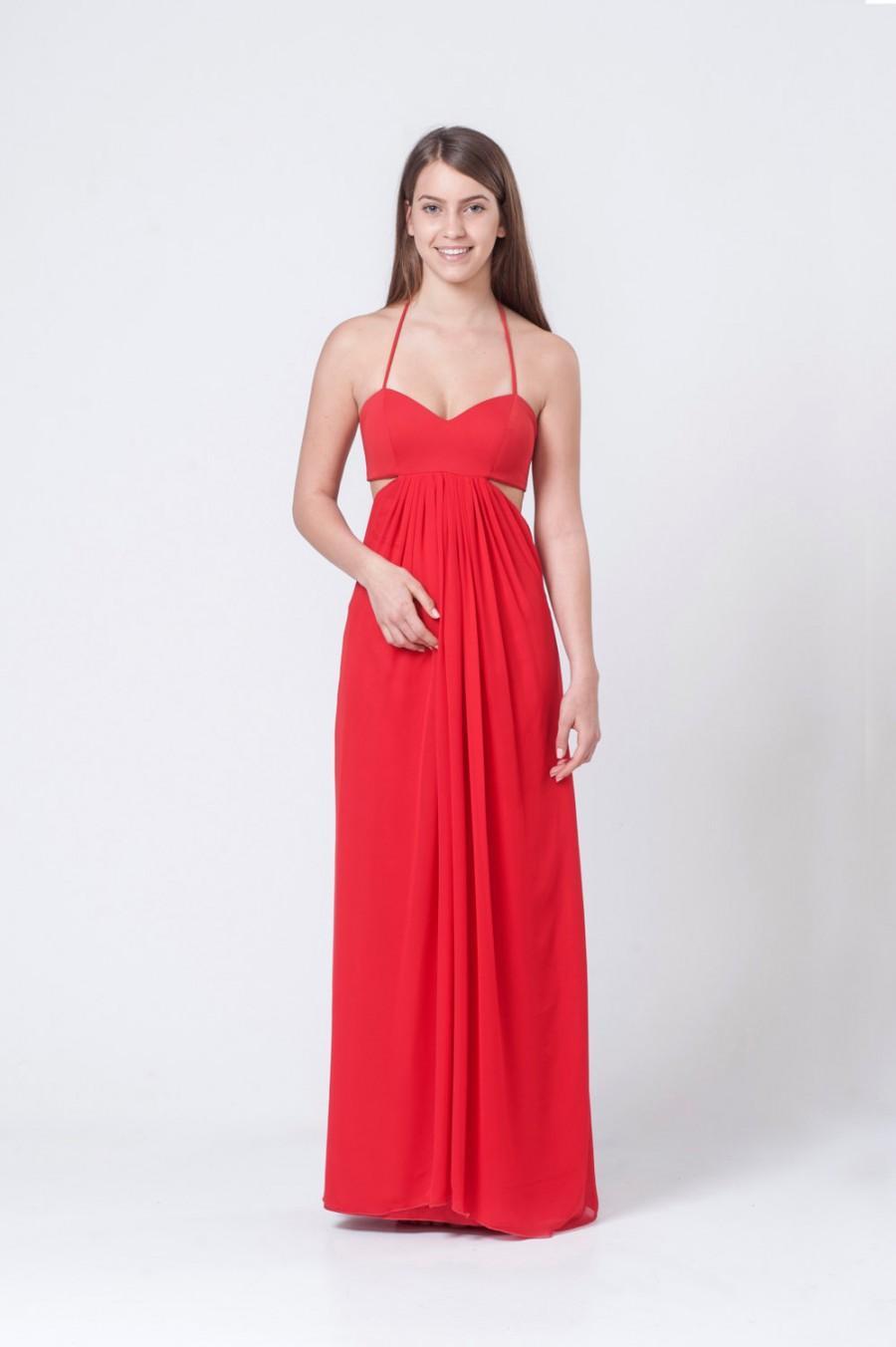 Mariage - Red maxi side slits dress - Red spaghetti maxi dress - Red bridesmaids dress