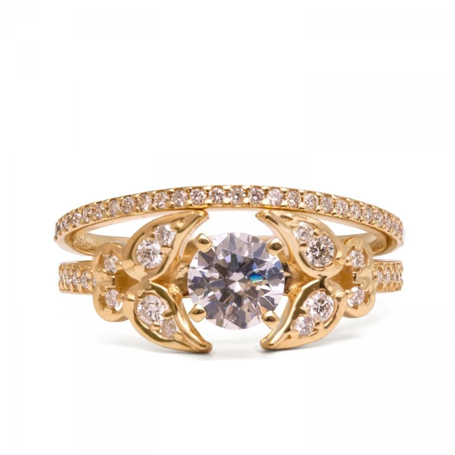 bridal set gold and engagement ring