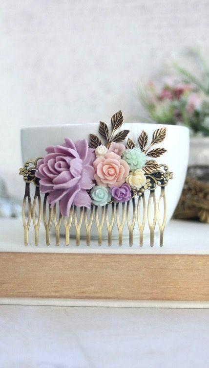 Purple Flower Large Comb, Purple Wedding, Lavender, Pink, Mint ...
