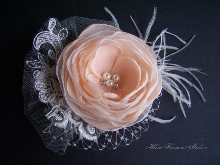 Mariage - Peach Headpiece Peach Wedding Accessories Peach Hair Clip Peach Ivory Bridal Hair Flower Peach Wedding Peach Bride Peach Bridal Clip
