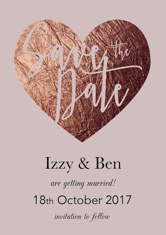 Mariage - Save The Date Wedding Magnet - Rose Gold Blush Pink