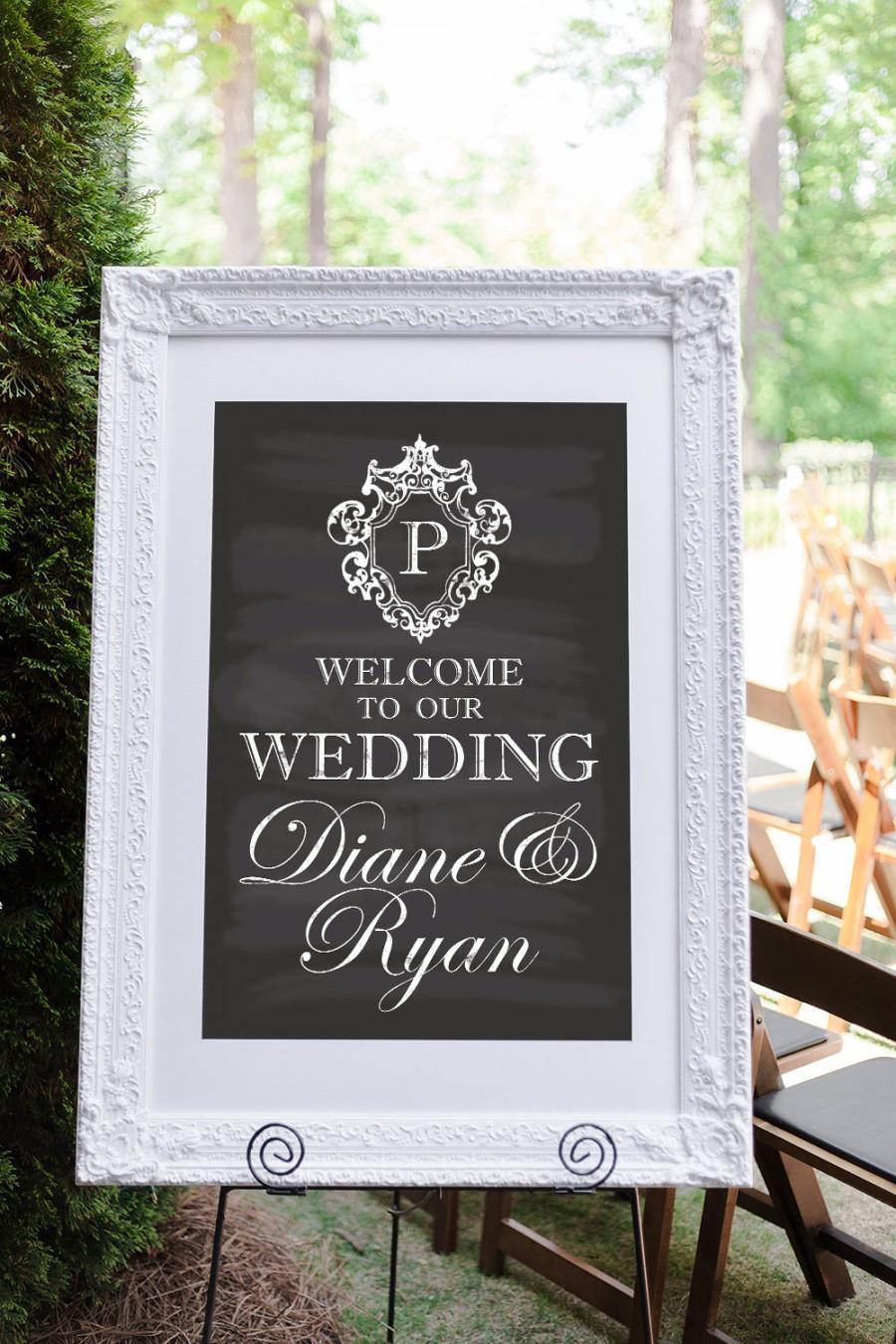 Свадьба - Welcome to Our Wedding Sign, Wedding Welcome Sign, Welcome to Our Wedding, Vintage Wedding, Chalkboard Wedding Sign, Monogrammed Wedding