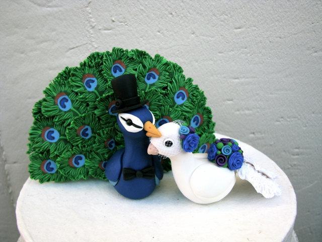 Mariage - Peacock Love Keepsake Wedding Cake Topper