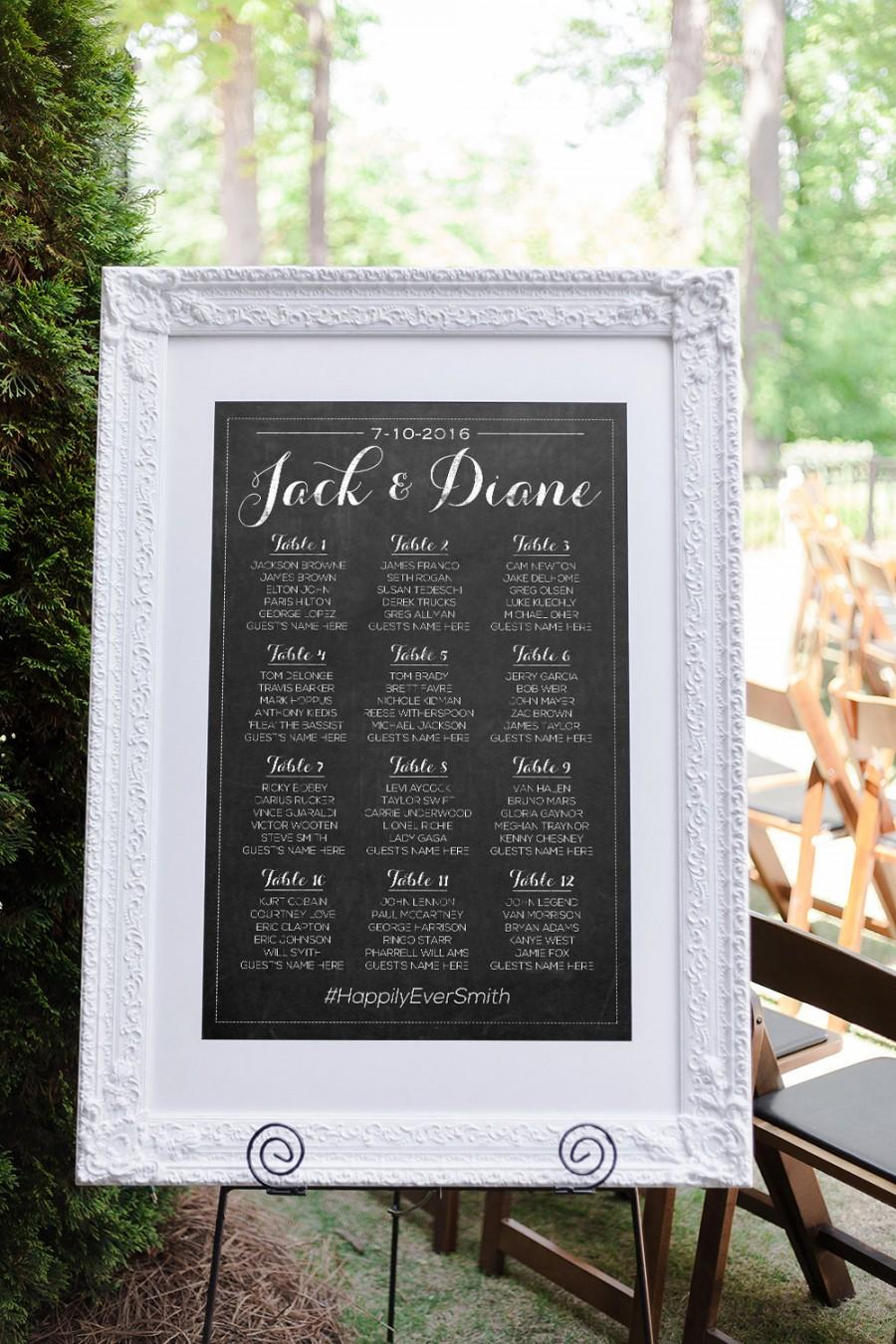 Wedding Seating Chart Plan Template Table Arrangement Sign