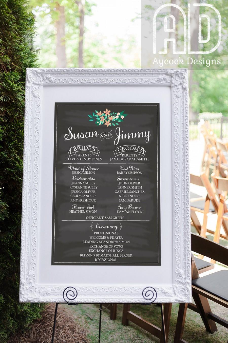 Wedding Program Sign Printable Party Chalkboard