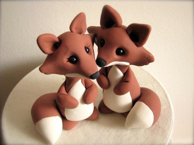 Mariage - custom fox wedding cake topper