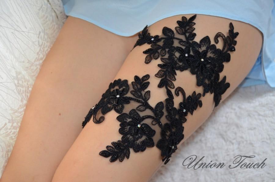Wedding - Black Lace Wedding Garter Set, Unique Black crystal Lace Bridal Garter Set, Black Lace Bridal Garter Set, Crystal jartiyet, Wedding, Bridal