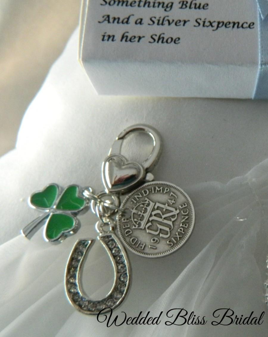 Shamrock Wedding Bouquet Charm Lucky Horseshoe Six Pence