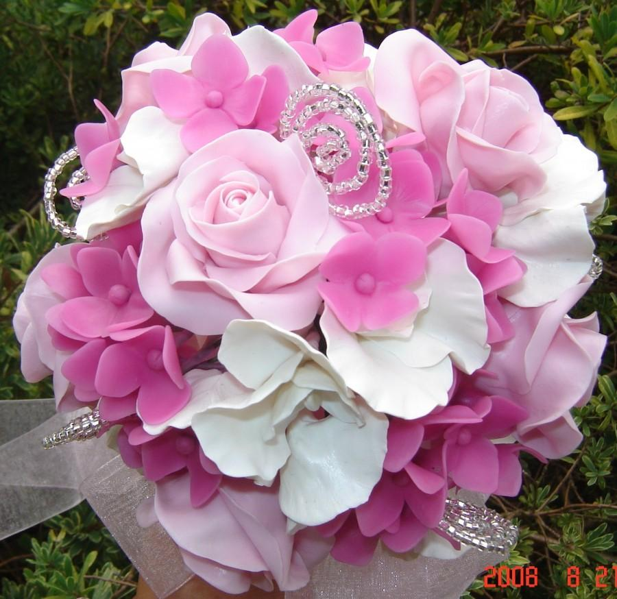 Pink Rose White Sweet Pea And Hot Pink Hydrangea Wedding Bouquet