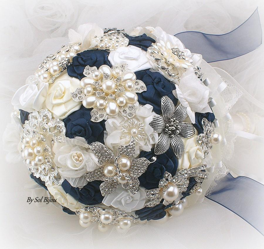 Brooch Bouquet, Navy Blue, Ivory, Cream, White, Vintage Style ...