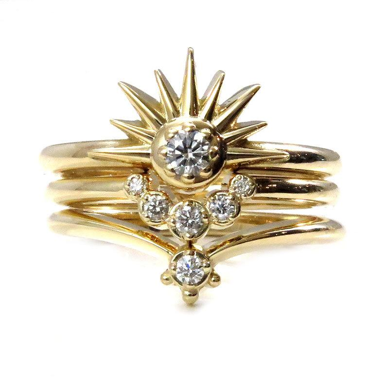 Sun Moon And Stars Stacking Ring Set - Sunburst With Diamond And
