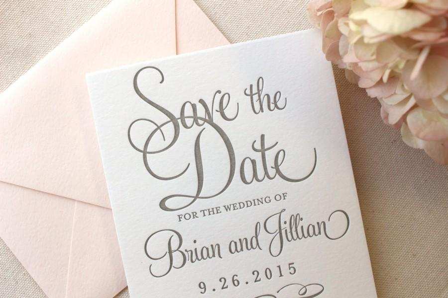 Mariage - The Hydrangea Suite - Letterpress Wedding Save the Date - Grey, White, Blush, Pink, Modern, Traditional, Simple, Invitation, Classic, Script