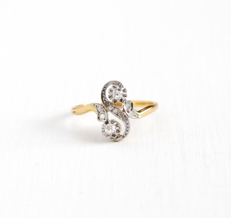 Sale Antique 18k Yellow Gold & Platinum Diamond Moi Et Toi Ring