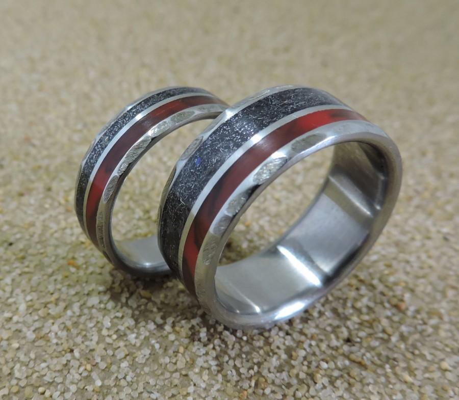 Titanium Rings Meteorite Rings Wedding Rings Wedding Band Set His And Hers Set Handmade