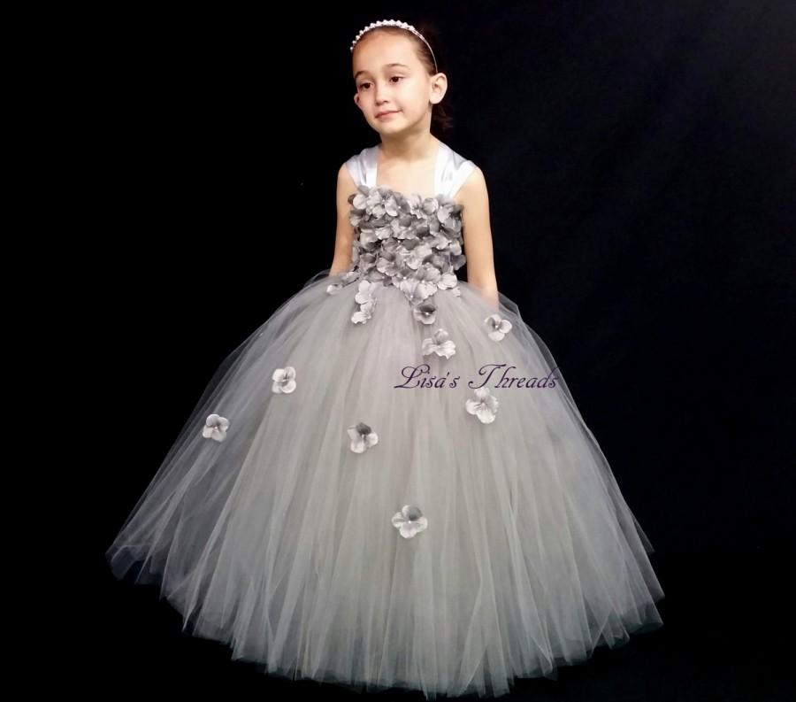 Silver Gray Flower Girl Dress Silver Tulle Dress Many Colors