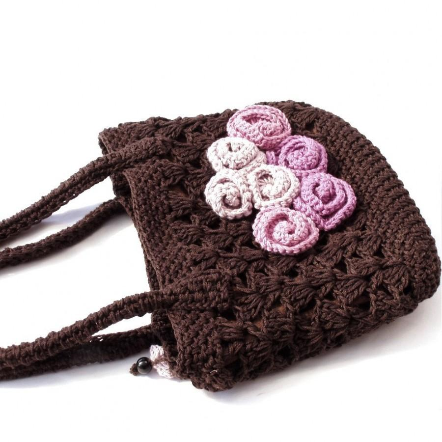 Mariage - Crochet bag, Rustic wedding, Roses bag, Cottage chic wedding, Floral bag, lace bag, bridesmaid gift, chocolate bag, wedding accessories,