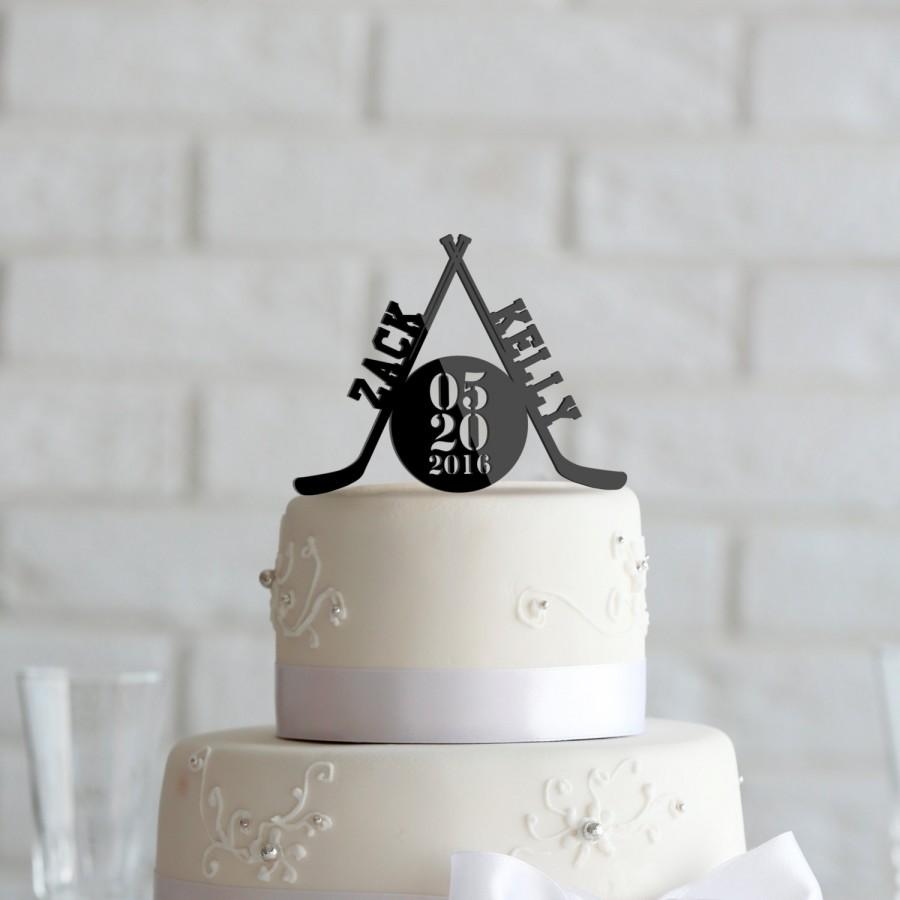 Hockey Theme Wedding Or Anniversary Cake Topper Personalized In