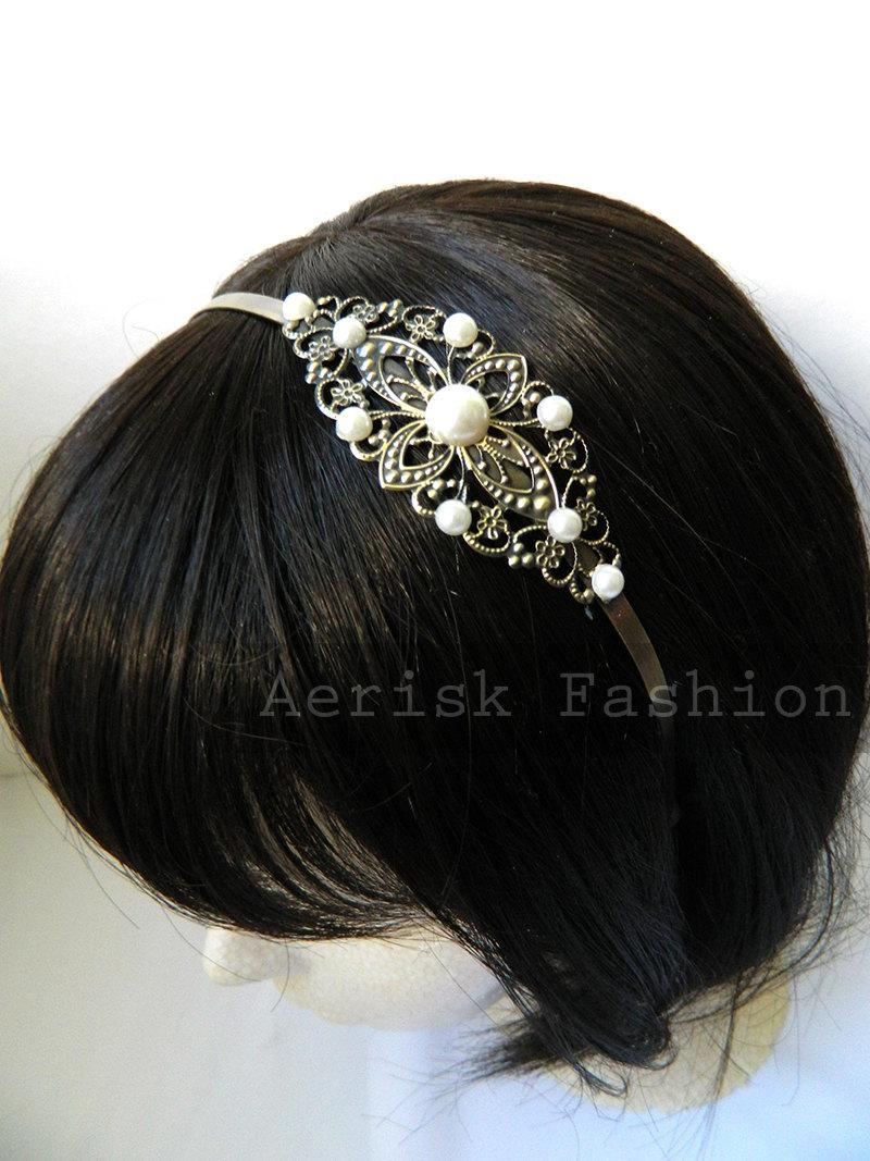 Свадьба - White Pearl Wedding Vintage style headband - MARLENE design 1 on a Bronze filigree stamped headband