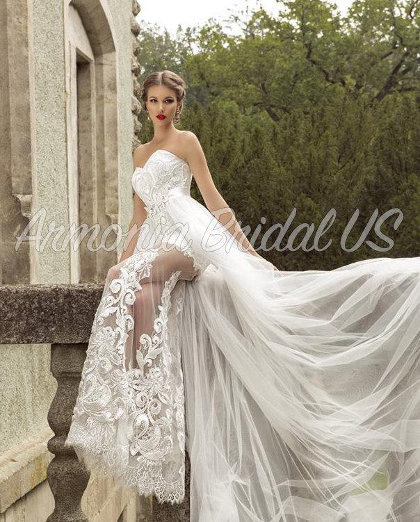 Wedding Dress, Lace White Off White Wedding Dress, Sweep Train ...