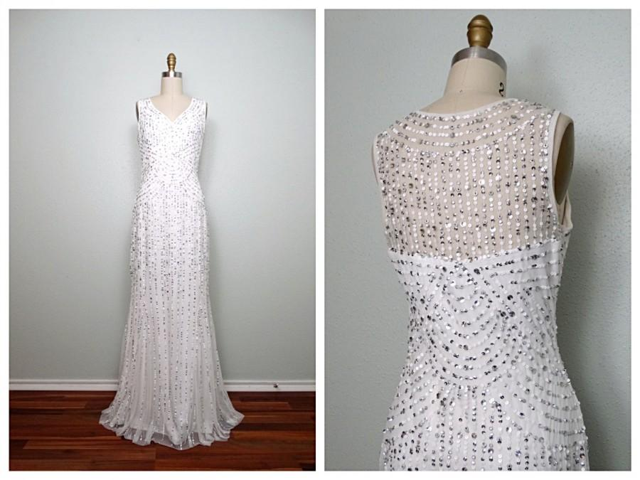 VTG Inspired Silver Sequined Gown // White Sequin Embellished Dress ...