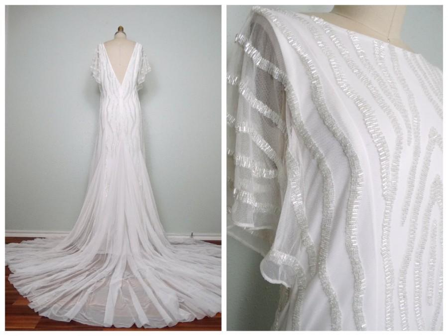 Heavily beaded wedding gown iridescent glass beaded for Heavy beaded wedding dresses