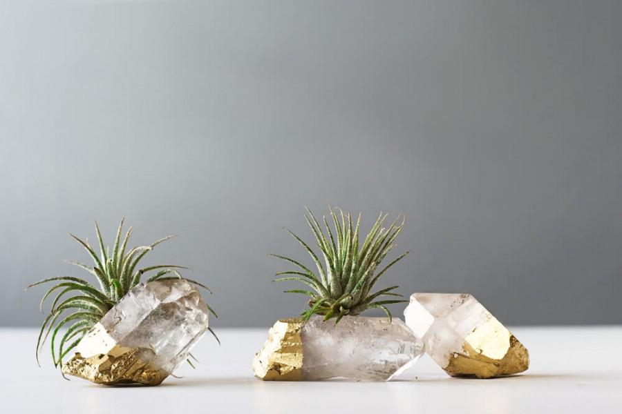 Wedding - Air Plant Gold Dipped Quartz Crystal, Boho Decor, Air Plant, Cute Desk Accessories, Airplants, Rustic Wedding Decor, Air Plant Terrarium