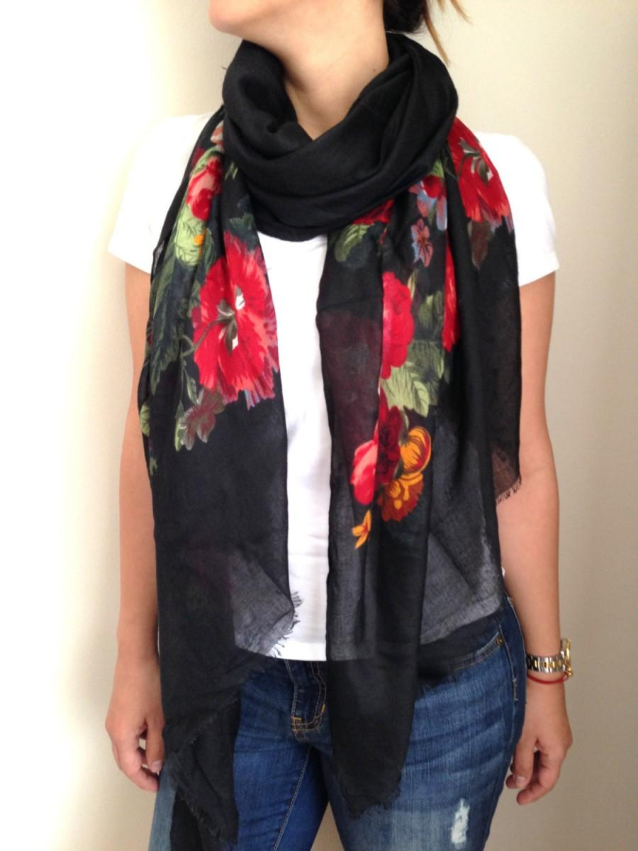 Wedding - Shawl, Scarf, Silk Scarf, Women Scarves, Pareo, Floral Scarf, Accessories, Gifts, Bamboo Scarf, By Bestbazaar