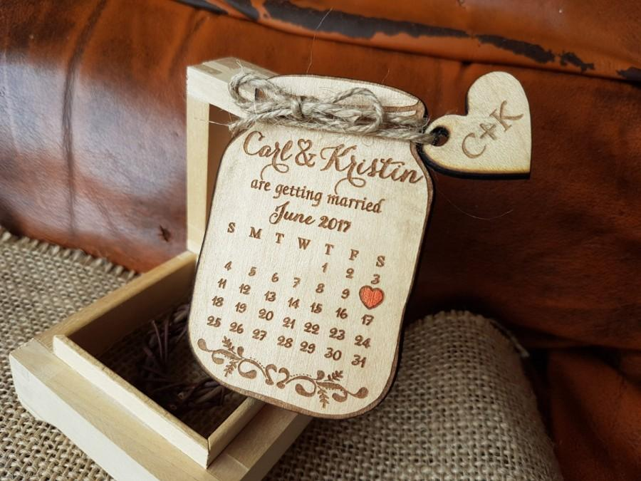 Calendar Save The Date Magnet Mason Jar Wedding Magnets Custom Rustic Wood