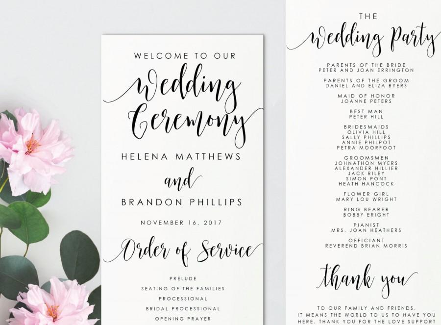 instant download printable wedding program editable pdf diy template