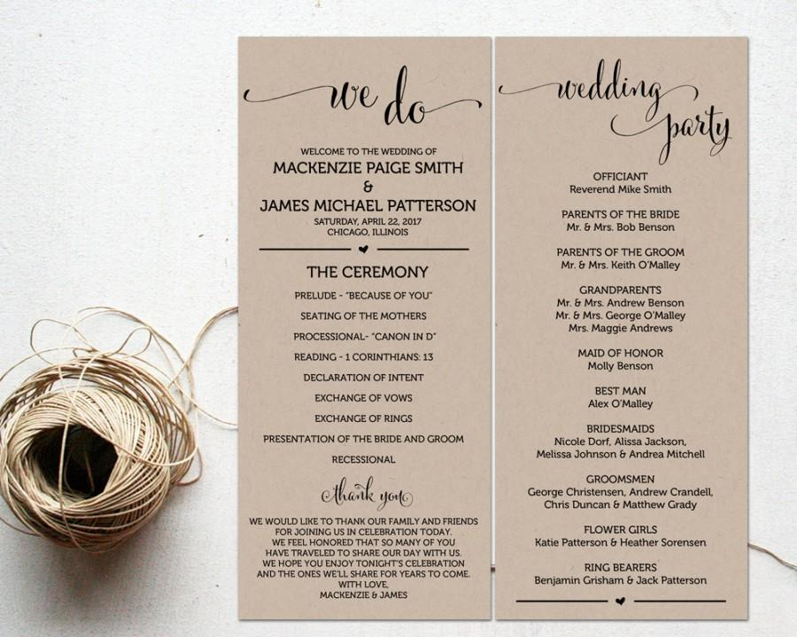 Ceremony Programs, Wedding Program Template, Ceremony Program