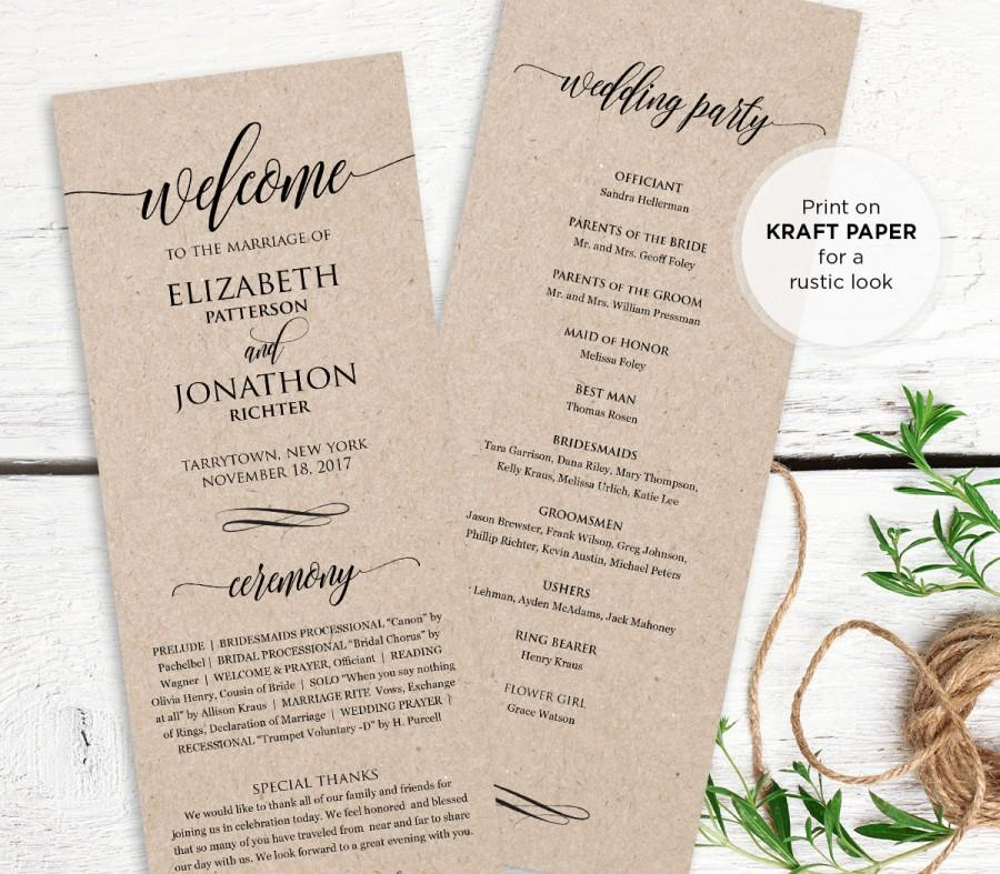 Wedding program printable order of service rustic for Wedding processional order template