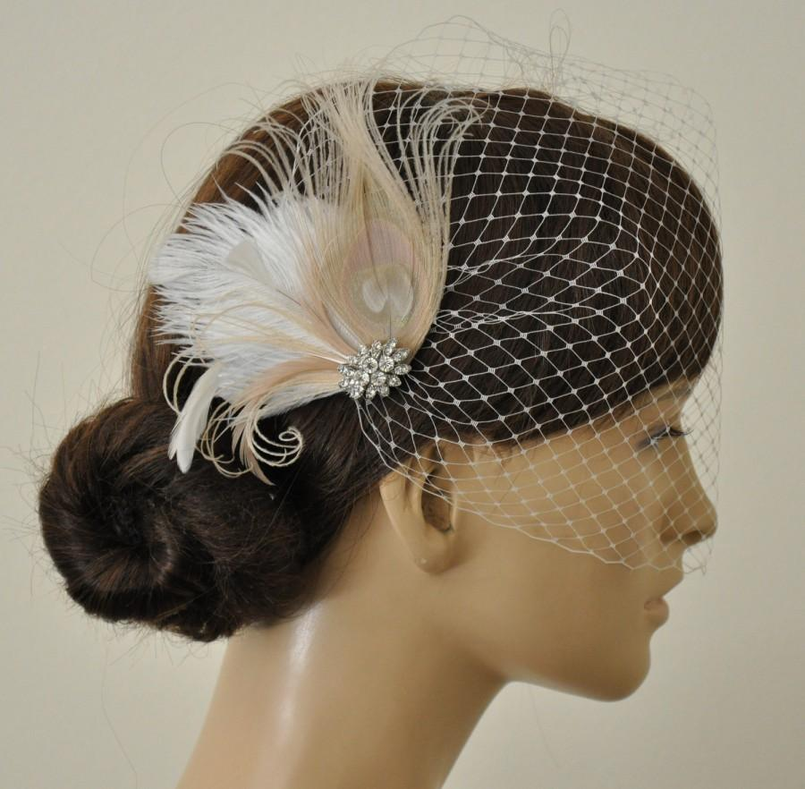 Mariage - Birdcage Veil ,Champagne peacock ,Feathers Fascinator,(2 ITEMS),Champagne  bridal Feathers Fascinator, Hair Accessories,bridal head piece,