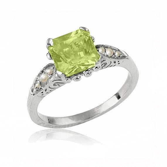 Wedding - Art Deco Peridot Engagement Ring, 14K Gold Ring, Peridot Birthstone Ring, Peridot Jewelry, Peridot Ring, Unique Art Deco Engagement Ring