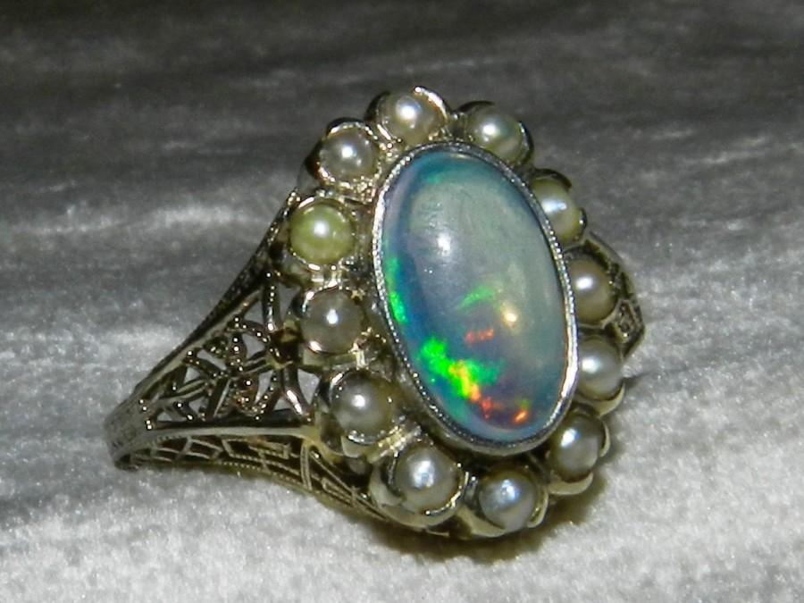 Mariage - Opal Ring Edwardian Opal Engagement Ring 14K 1920s Ring Opal Seed Pearl Ring Antique 14K White Gold Ring October Birthday