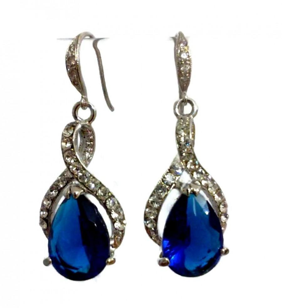 Something Blue Bridal Earrings Sapphire Bridesmaid Earrings Cz