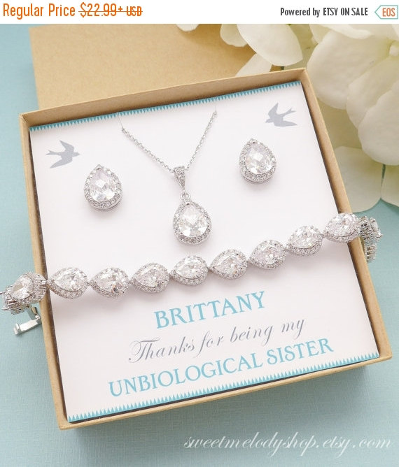 Свадьба - SALE Personalized Bridesmaid Gift, Bridesmaid Earrings and Necklace Set, Crystal Wedding Jewelry Set, Bridal Studs Bracelet, Mother of Bride