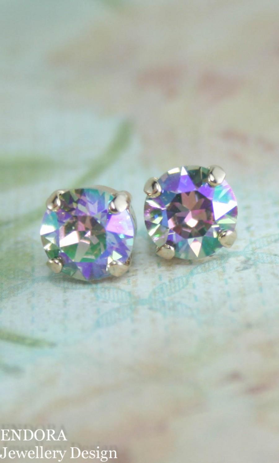 Свадьба - Crystal stud earrings,stud earrings,rose gold crystal stud earrings,Swarovski earrings,Swarovski Paradise shine,peacock wedding,stud earring