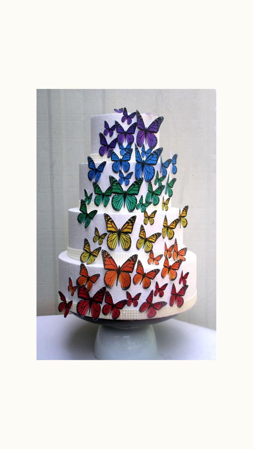 Edible Butterflies Wedding Cake Topper Rainbow Edible Butterflies Set Of 48 DIY Cake Decor