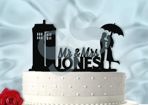 Свадьба - Mr and Mrs Personalized Tardis Dr Who Inspired Wedding Cake Topper