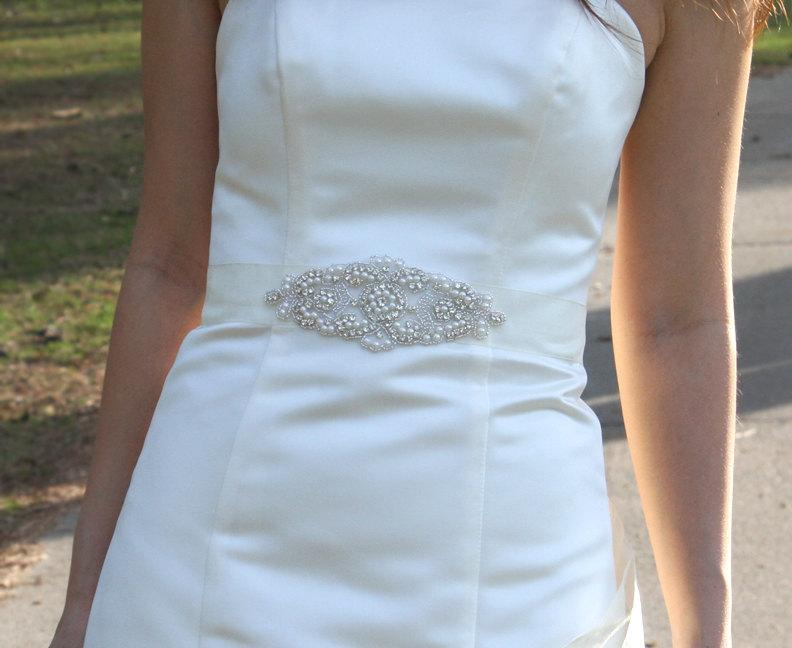 زفاف - ALANA - Vintage Inspired Wedding Belt, Bridal Beaded Sash, Rhinestone Belts, Crystals Sashes, Pearl Belt